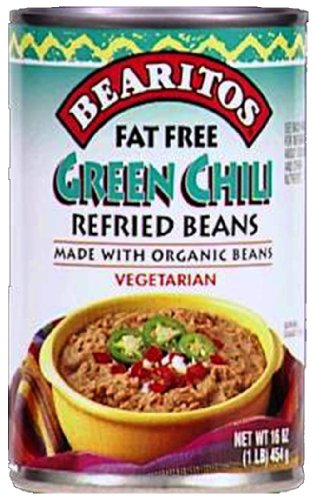 Little Bear Fat Free Refried Bean with Chilis, 16-Ounce (Pack of6)
