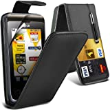 (Black) LG Cookie KP500 Protective Faux Leather Debit/Credit Card Slot Flip Case Cover Skin, Retractable Capacative Touch Screen Stylus Pen & 3 Screen Protector Guard By *Aventus*
