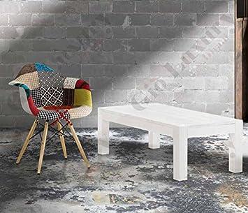 Mesas de centro de abeto blanco cepillado, estilo moderno, en mdf laminado - Medidas 120 x 60 x 40