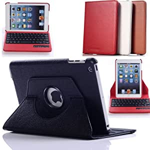 Case Mama 360 Rotating Leather Detachable Bluetooth Keyboard Case with Auto Wake Up and Sleep Function (Black)