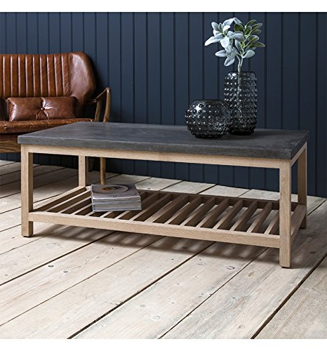 BROOKLYN FRENCH WOOD RECTANGULAR COFFEE TABLE WITH CONCRETE TOP