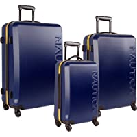 Nautica Ahoy 3 Piece Hardside Spinner Luggage Set (Multi Colors)