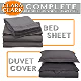 Clara Clark Complete 7-Piece Bed Sheet And Duvet Cover Set, Queen, Charcoal Gray