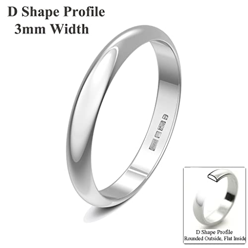 Xzara Jewellery - 9ct White 3mm D Shape Hallmarked Ladies Gents 1.7 Grams Wedding Ring Band
