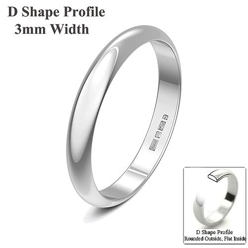 Xzara Jewellery - 9ct White 3mm D Shape Hallmarked Ladies Gents 1.7 Grams Wedding Ring Band