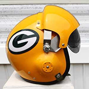Green Bay Packers Fighter Pilot Helmet - NFL Football USAF Authentic Motorcycle Scooter