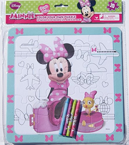Minnie Mouse Color Your Own Puzzle with Crayons - 20 Piece - 1