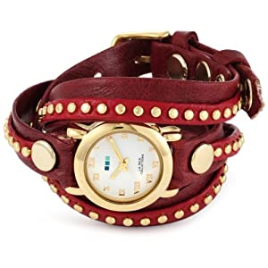 La Mer Collections Women's LMSW5003 Bordeaux Bali Studs Wrap Watch