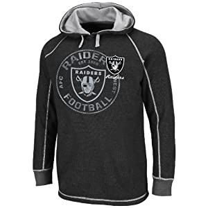 NFL Oakland Raiders Men's Team Spotlight II Long Sleeve Pull Over, Black/Steel, Medium