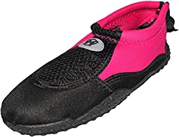 Women\'s Ankle High Water Shoes Aqua Socks Snorkeling, Pool Beach, Yoga, Dance and Exercise with Drawstring Closure (8, Black/Fuchsia)