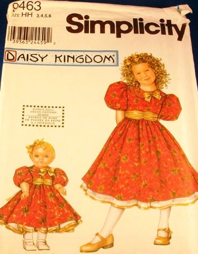 Simplicity 9463 (A/K/A 0649) Daisy Kingdom Girls' Dress and 18 Inch Doll Clothes - Size HH (3, 4, 5, 6)
