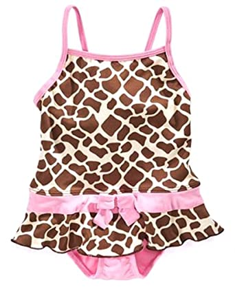 Pink Platinum Baby Swimwear, Baby Girls Animal Print Swimsuit, Pink, Size: 18 months