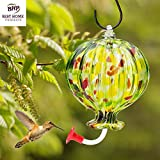 Hummingbird Feeder --- BEAUTIFUL HAND-BLOWN GLASS Feeders | Bird Lovers | Summer Balloon | Multi-Color, Premium, Fun | Holds 20 ounces of nectar | Great Reviews | LOVE our Feeders or 100% MONEY BACK GUARANTEE (by Best Home Products)