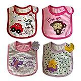 JT-Amigo Baberos del Bebé Algodón Impermeables - Paquete de 4 Diseños para Niña