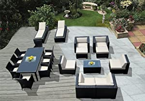 Genuine Amazing Ohana Outdoor Sectional Sofa, Dining and Chaise Lounge Wicker Patio Furniture Set (20 PC set) with Free Patio Cover by Ohana