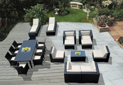 Ohana Collection PNC2005A 20-Piece Outdoor Sectional Sofa, Dining and Chaise Lounge Wicker Patio Furniture Set picture
