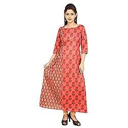Jaipuri ada Peach Ethnic Cotton Calf Length Anarkali Women's Kurti