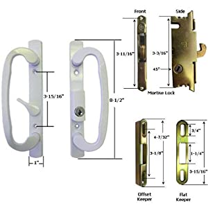 STB Sliding Glass Patio Door Handle Kit With Mortise Lock And Keeper White