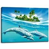 Delfines en Isla de imágenes sobre lienzo en el formato: 120x80 cm. Impresión del arte de alta calidad como un...