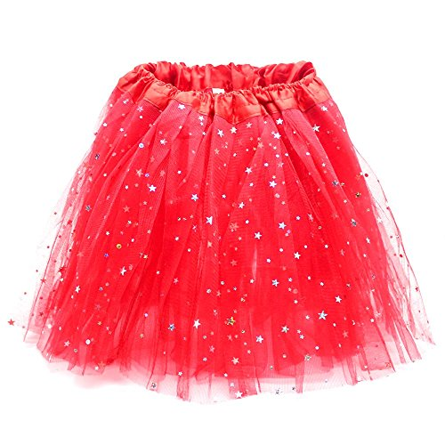 Foreveryang Little Girls' Dance Skirt Sequins Bubble Skirt Dancewear Tutu Red