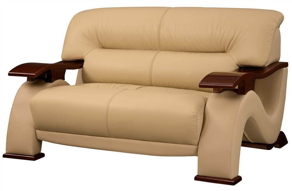 Cappuccino Leather Loveseat w Tight Seat & Back - 2033