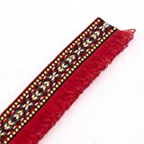 10yards Red Braided Trim Decorated Fringe Trimming Lace Fabrics Ribbon Trim Tassel Sewing Accessories Craft T1290 (Color: Red, Tamaño: Approx.full width 27mm/1.06