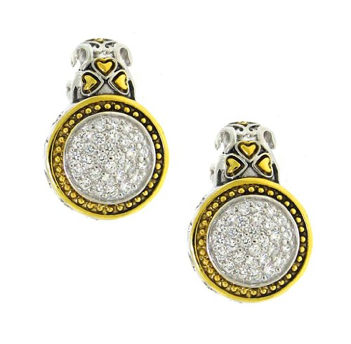 Goldplated Sterling Silver 925 Clear Cubic Zirconia Circle Earrings