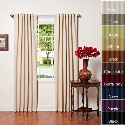 """Solid Thermal Insulated Back Tap Blackout Curtain 95""""L- 1 Set-BEIGE"""