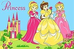 Kids Rug Princess & Castle in Pink 3\' X 5\' Children Area Rug for Playroom & Nursery - Non Skid Gel Backing (39\