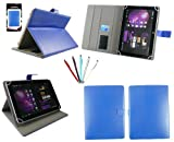 Emartbuy® Bundle of 5 Dual Function Stylus + Universal Range Blue Multi Angle Executive Folio Wallet Case Cover With Card Slots Suitable for HP Slate 10 HD