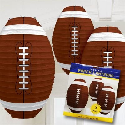 FOOTBALL SHAPED PAPER LANTERNS 3 COUNT 12
