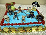 Pirates Of The Caribbean 16 Piece Birthday Cake Topper Featuring Jack Sparrow, Captain Barbossa, Will Turner, Davy Jones, The Dog, Skeleton Pirate, Skull, Pirate Compass, 6 Pirate Gold Coins and Decorative Pirate Treasure Chest & Pirate Head