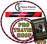 Adult Weighted Hula Hoop (Black/UV Pink) Large Travel Hula Hoops For Dance, Fitness & Exercise + Hooping DVD!