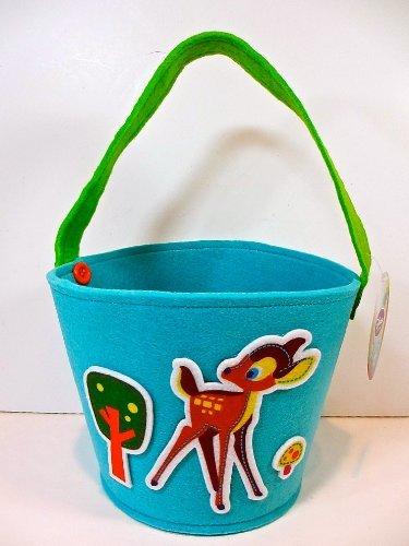 Disney Plush Bambi Easter Basket,blue,Bambi,trees,mushroom Appliqués,handle