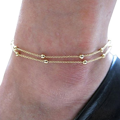 Susenstone®Gold Double Foot Chain Anklet Ankle Bracelet Barefoot Beach Foot Jewelry