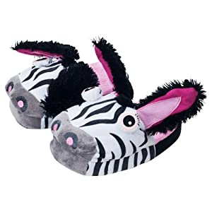 Silly Slippeez Zebra Plush Slippers