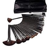 DragonPad 32 Pcs Black Rod Makeup Brush Cosmetic Set Kit with Case (Color: Black, Tamaño: Black)