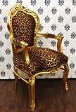 Casa padrino fauteuil baroque doré motif léopard/ou salle à manger avec accoudoirs