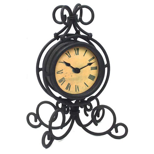 Infinity Instruments The Grace - Black Wrought Iron Table Clock