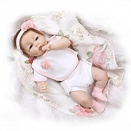 Nicery Vinyle Silicone Half Poupée Reborn Bébé Doux 20inch 50cm Magnétique Bouche Lifelike Garçon Jouet Fille Rose Robe Baby Doll A3FR