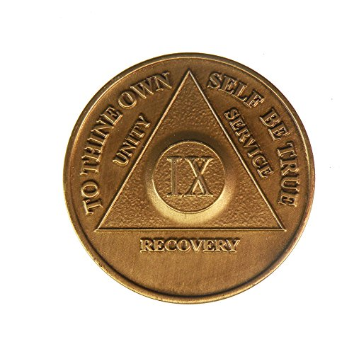 9 Year Bronze AA (Alcoholics Anonymous) - Sober / Sobriety / Birthday / Anniversary / Recovery / Medallion / Coin / Chip