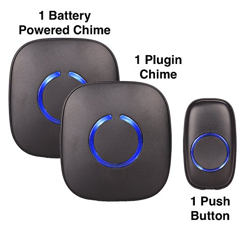 SadoTech Model CXRi Portable Wireless Door Bell Chime Kit, Over 50 Chime Tones, over 500 ft Range [1 Remote Button, 1 Plug-In Chime & 1 Battery Powered Chime], (Scratch Resistant Matte Black) (Battery Door Chime compare prices)