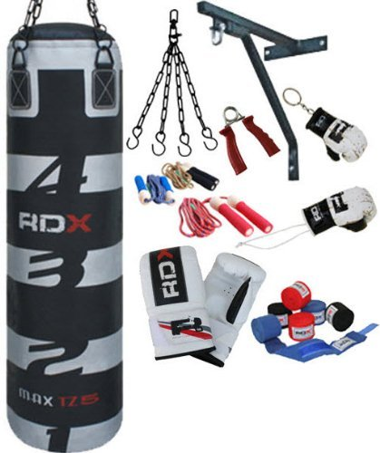 RDX Professional 13 PC Boxing Set 4ft Filled Heavy Punch Bag,Gloves,Bracket MMA