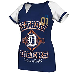MLB Detroit Tigers Ladies This Is My City T-Shirt, Navy Heather White by Majestic