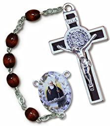 Italian Rosary Brown Wood Beads St. Benedict Ex Indumentis Crucifix