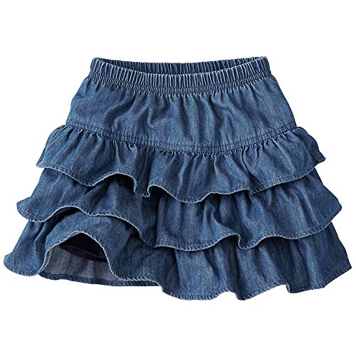 Hanna Andersson Big Girl Three Tiers Scooter Skirt, Size 130 (8), Medium Wash Chambray