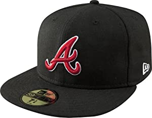 MLB Atlanta Braves Black with Scarlet and White 59FIFTY Fitted Cap by New Era