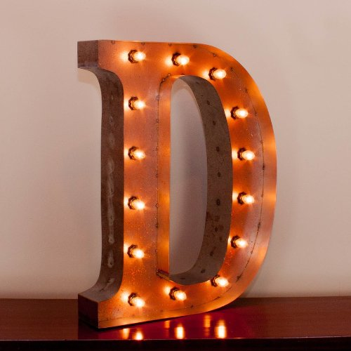 Vintage Marquee Letter D with Lights 24 Inches Tall 0