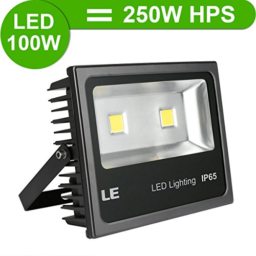 LE® 100W Super Bright Outdoor LED Flood Lights, 250W HPS Bulb Equivalent, 10150lm, Daylight White, 6000K, Security Lights, Floodlight, 5 Years Warrenty