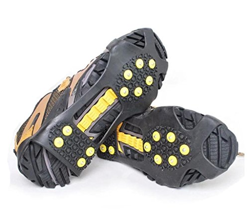 YUEDGE 10 Steel Studs Ice Snow Antiskid Crampons Spikes Grips traction Cleats(L)
